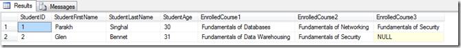 SQl Result nodes method